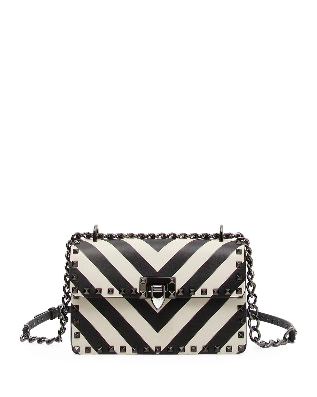 Rockstud V-Stripes Small Shoulder Bag