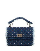 Rockstud Spike Medium Fringe Denim Shoulder Bag