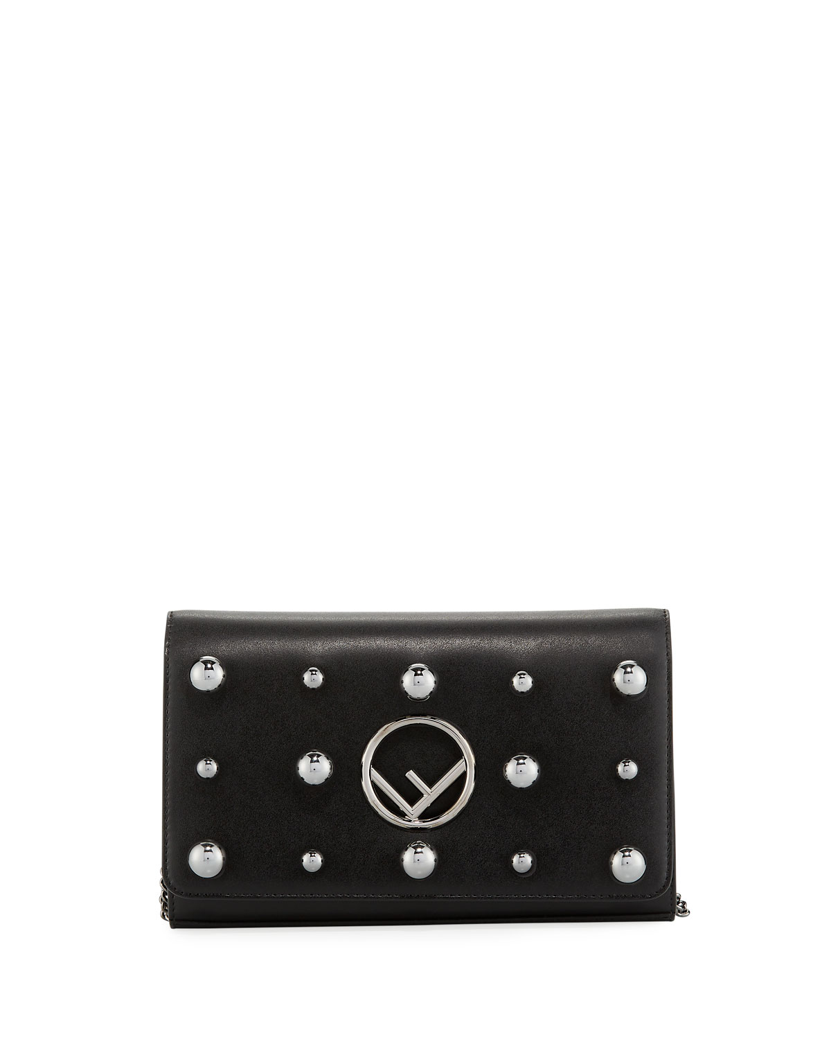 F Logo Studded Calf Liberty Wallet Crossbody Bag