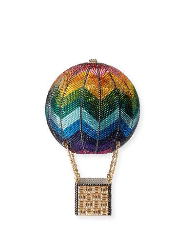 Rainbow Hot Air Balloon Crystal Clutch Bag