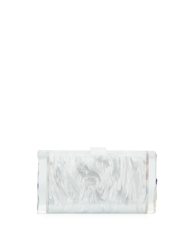 Lara Backlit Confetti Rainbow Hearts Clutch Bag in White Pearl Multi