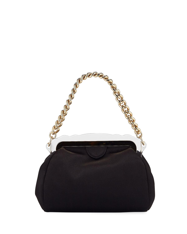 Aliza Framed Satin Chain-Handle Clutch Bag
