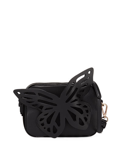 Flossy Butterfly Camera Crossbody Bag, Black