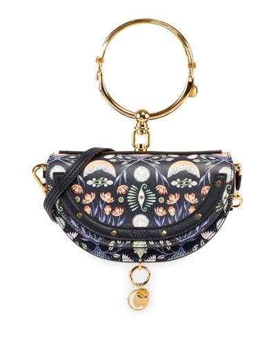 Nile Artistic Print Minaudiere Clutch Bag with Bangle Handle