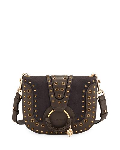 Hana Studded Leather/Suede Shoulder Bag