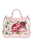 Sicily Medium Floral Leather Top-Handle Bag