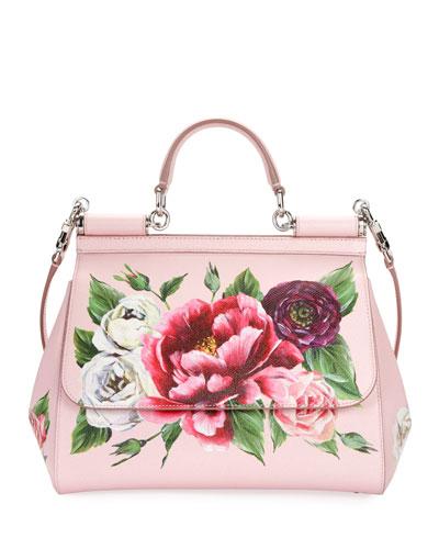 Sicily Medium Floral Leather Top-Handle Bag