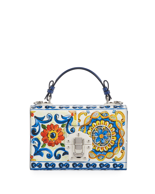 Lucia Maiolica-Print Top Handle Bag