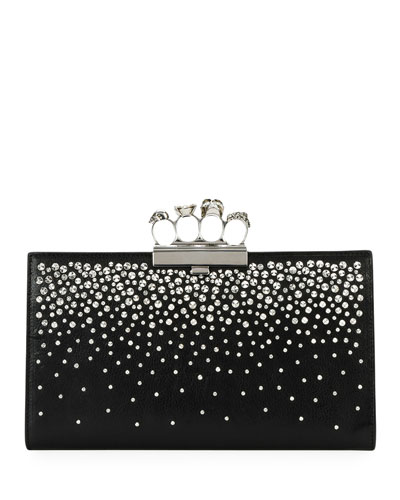Four-Ring Knuckle Crystal-Studded Leather Clutch Bag