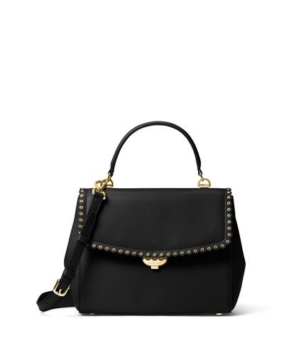 Ava Medium Saffiano Satchel Bag, Black