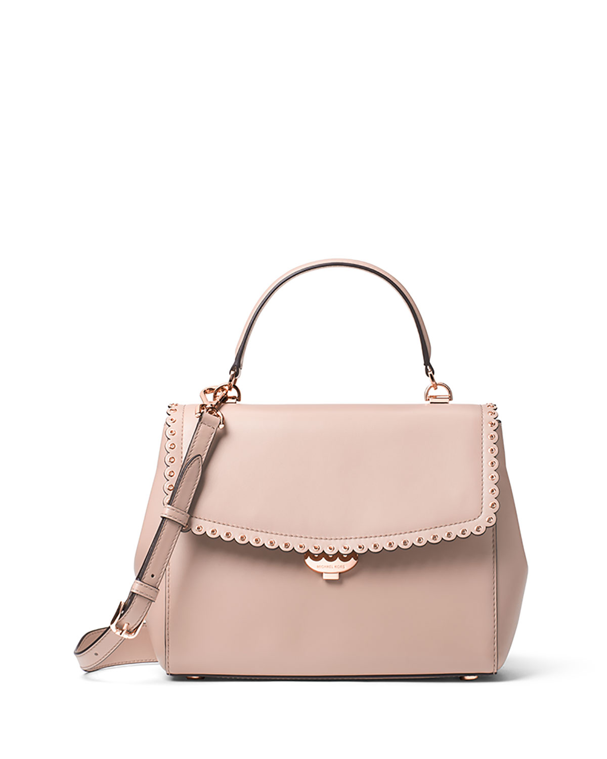 Ava Medium Saffiano Satchel Bag, Light Pink
