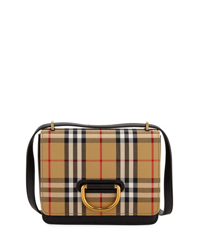 Small D-Ring Check Crossbody Messenger Bag