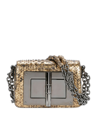 Natalia Laminated Python Small Shoulder Bag