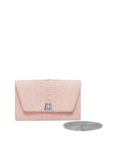 Anouk Sueded Python Mini Clutch Bag, Light Pink