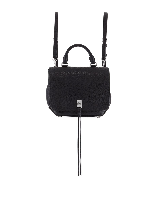Darren Medium Convertible Leather Backpack, Black