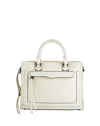 Bree Medium Top-Zip Satchel Bag, Antique White