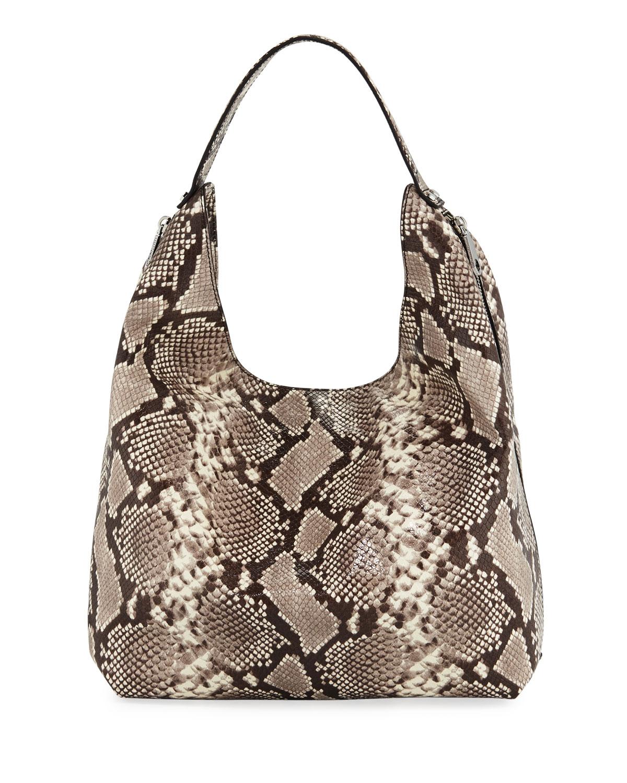 Bryn Snake-Print Denim Hobo Bag