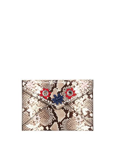 Leo Snake-Print Clutch Bag