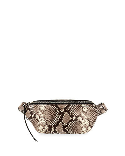 Bree Snake-Print Denim Belt Bag