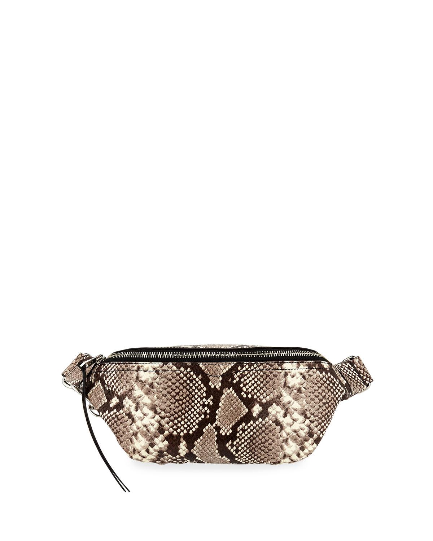 Bree Snake-Print Denim Belt Bag