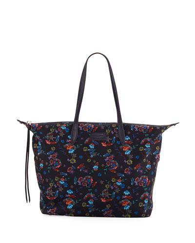 Washed Floral Nylon Tote Bag