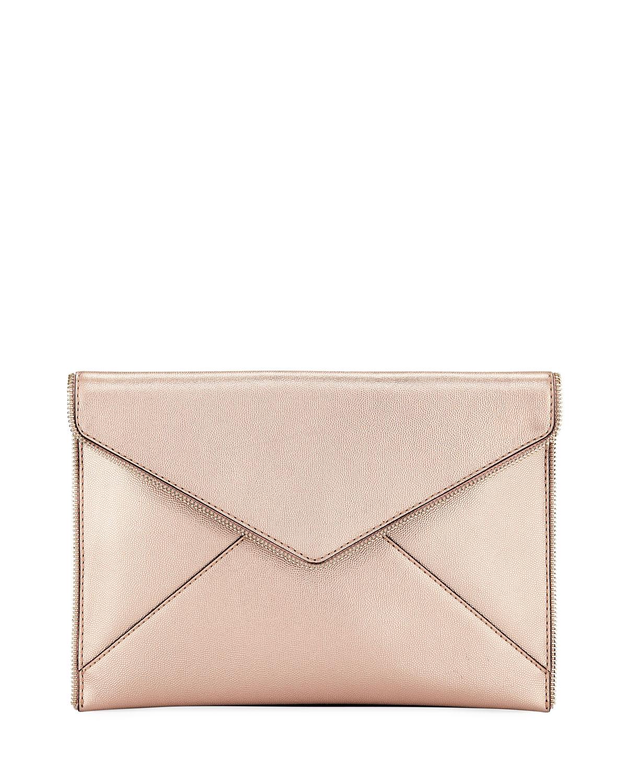 Leo Metallic Leather Envelope Clutch Bag