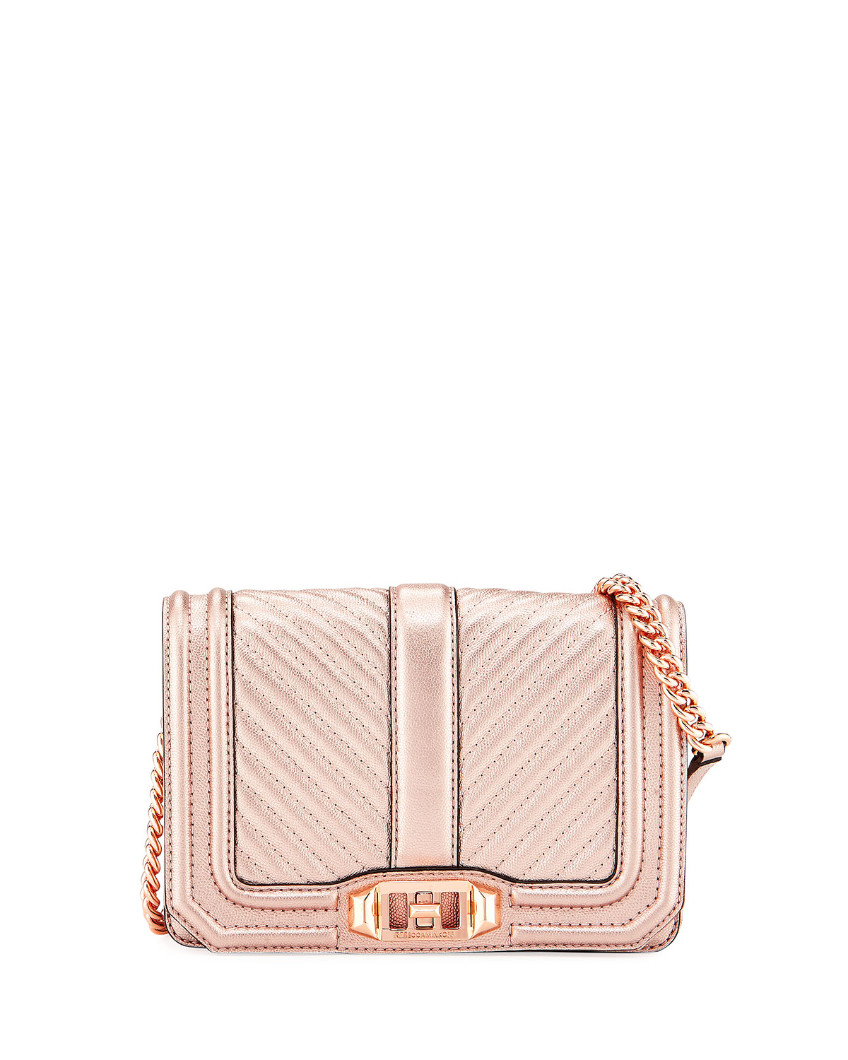Love Small Quilted Metallic Leather Crossbody Bag