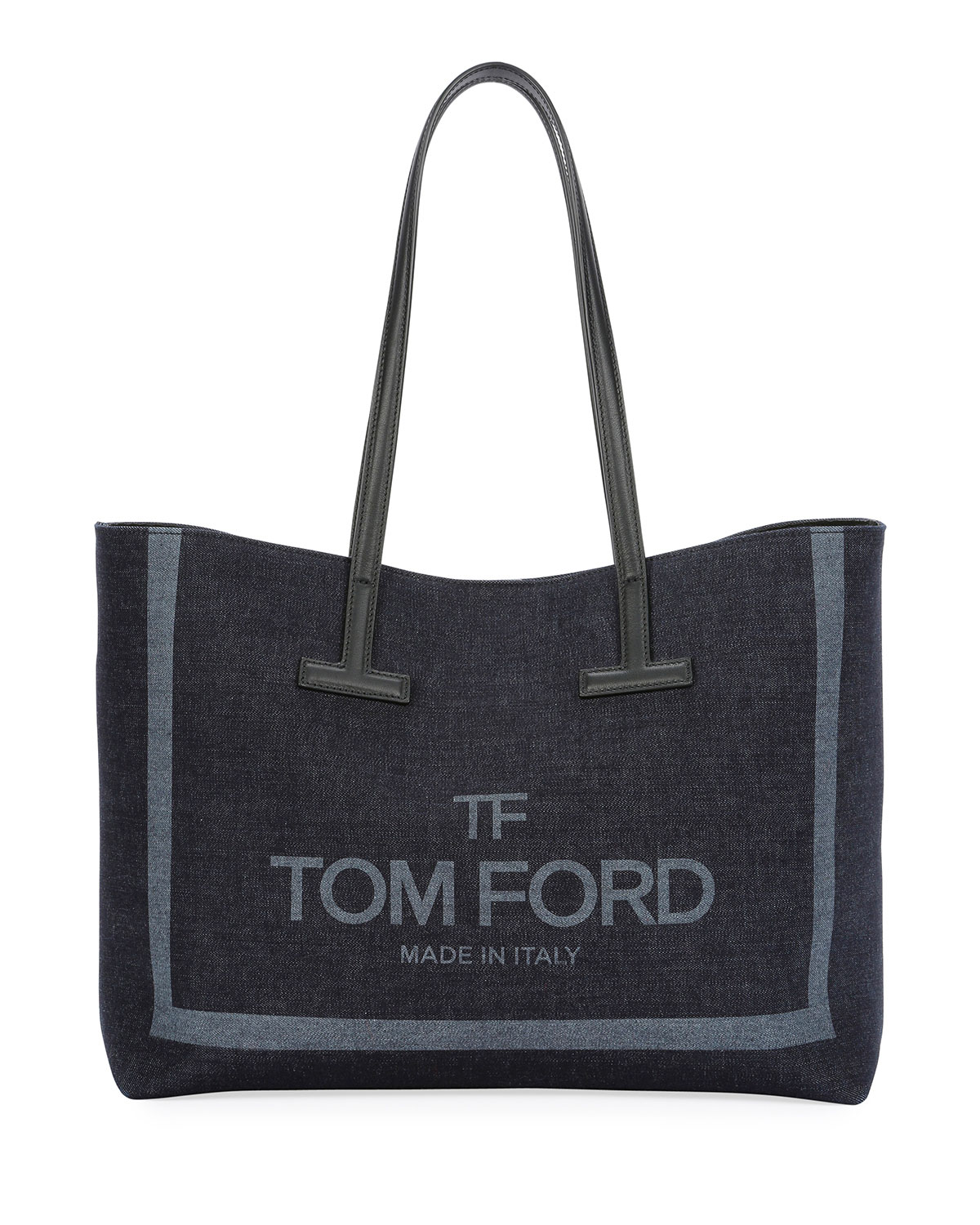 Small T Printed Denim Tote Bag