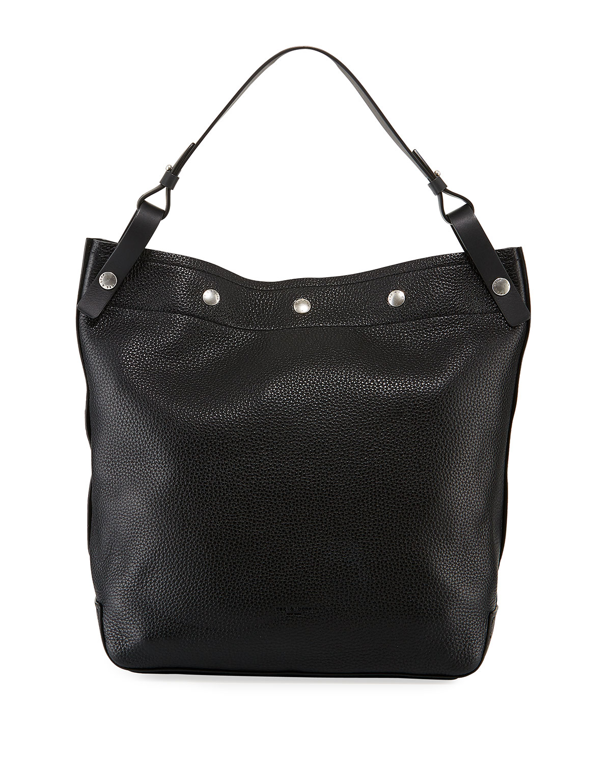Compass Pebbled Snap Hobo Bag