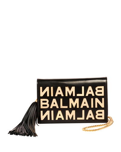 Logo Glace Cuir Pochette Clutch Bag