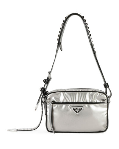 cf1d593e23be Quick Look. Prada · Prada Black Nylon Shoulder Bag with Studding, Silver