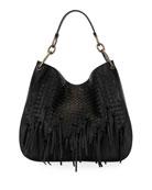 Large Loop Fringe Intrecciato Leather Hobo Bag