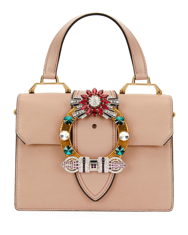 Lady Jeweled Top-Handle Bag
