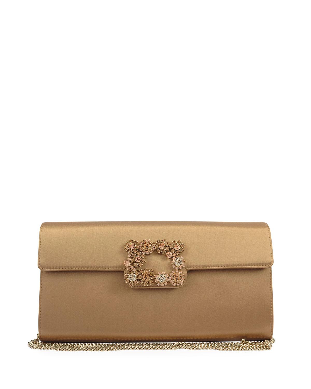 Floral Crystal-Buckle Satin Envelope Clutch Bag