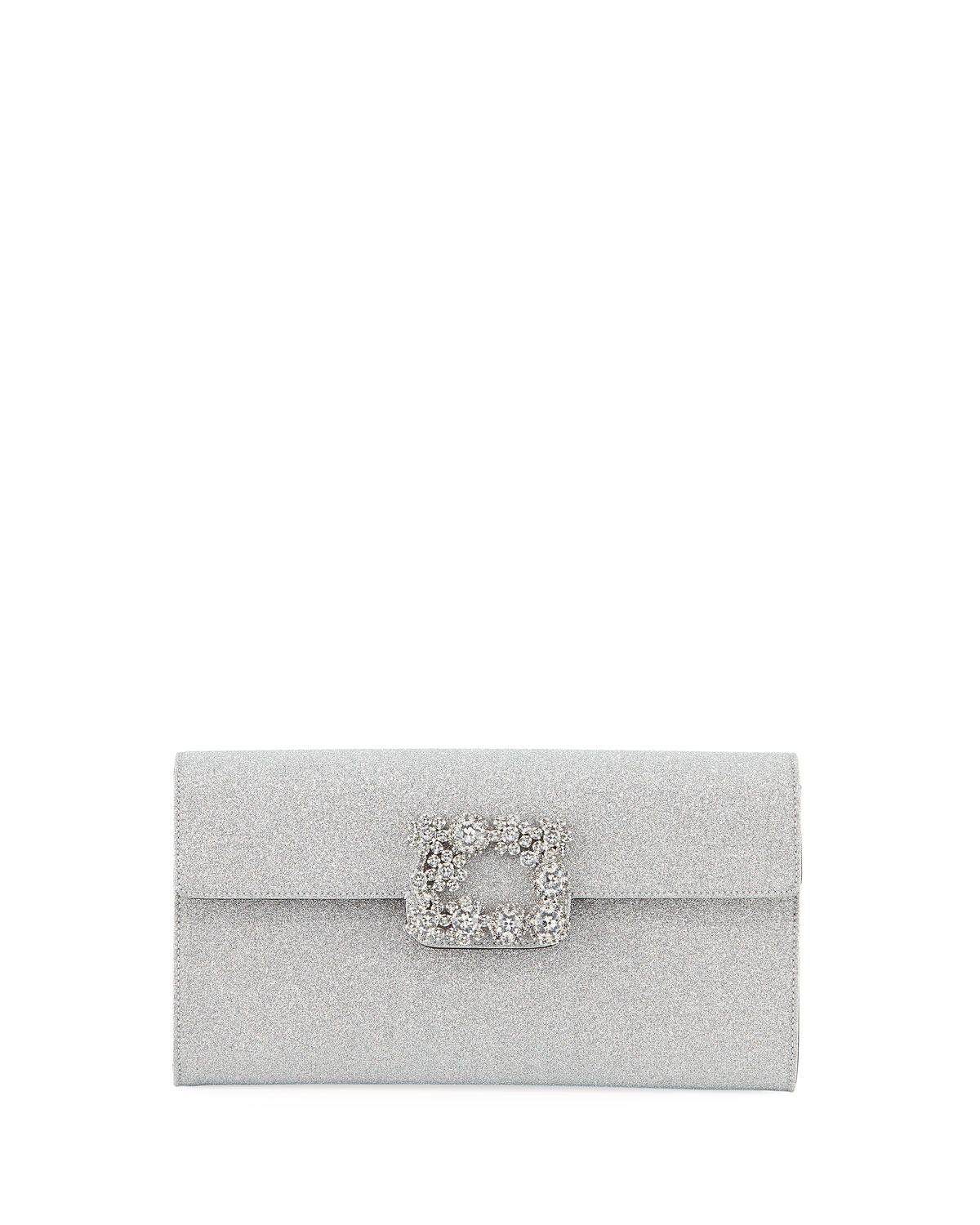 Floral Crystal-Buckle Glitter Fabric Envelope Clutch Bag