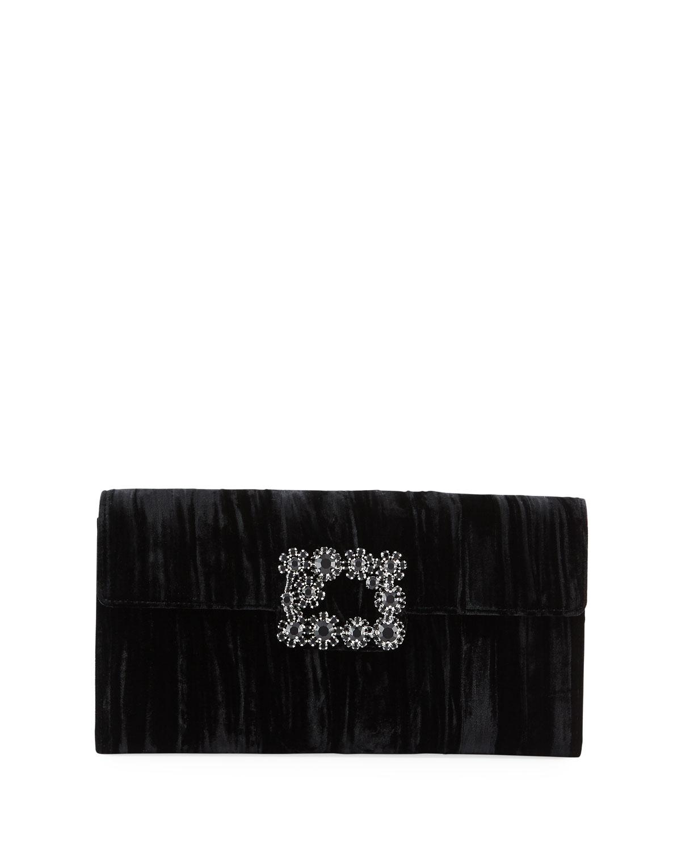 Floral Crystal-Buckle Velvet Envelope Clutch Bag