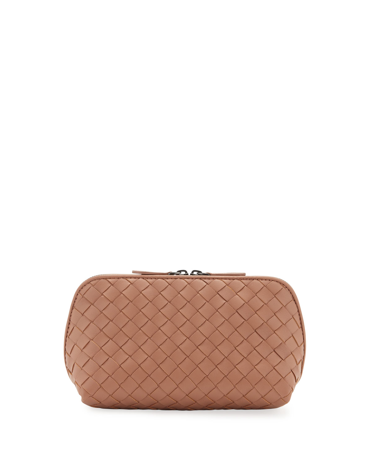 Medium Woven Leather Cosmetics Case