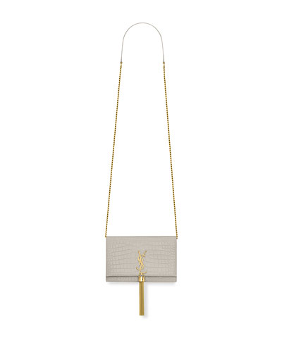 Kate Monogram YSL Tassel Croco Wallet on Chain Bag - Golden Hardware