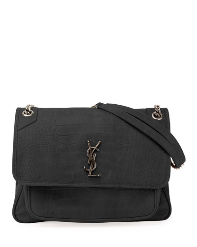 Niki Monogram YSL Large Crocodile-Embossed Shoulder Bag