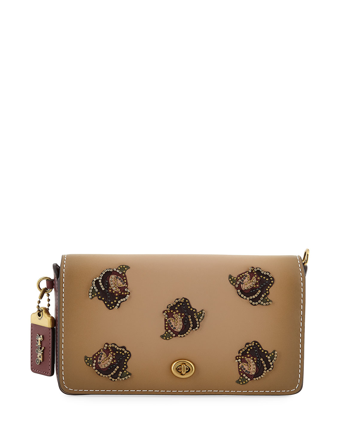 Dinky Rose-Applique Leather Crossbody Bag