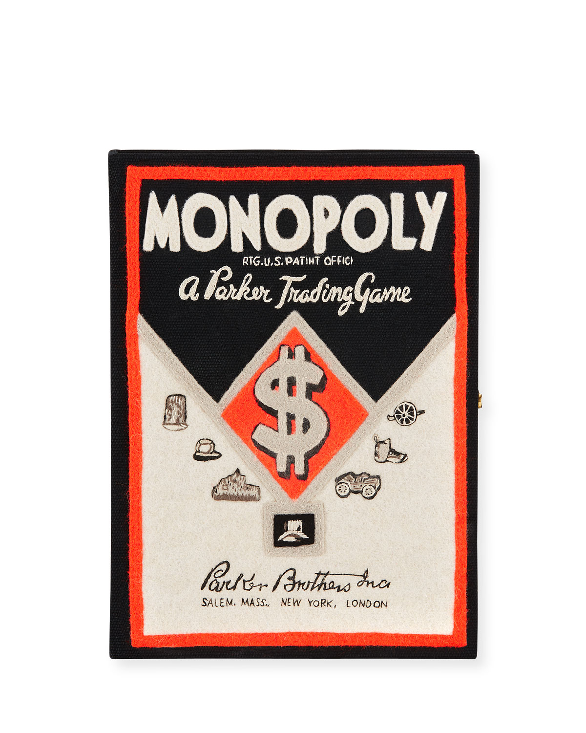 Monopoly Parker Bros Trading Game Box Clutch Bag, Black Pattern