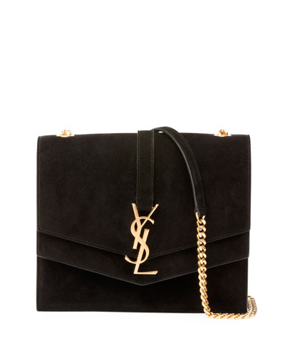 Sulpice Suede Triple V-Flap Shoulder Bag