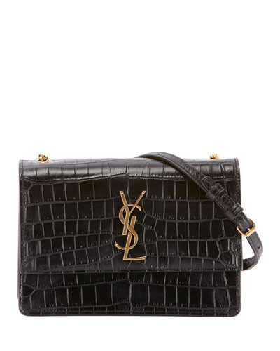 Monogram YSL Sunset Medium Croco-Effect Shoulder Bag