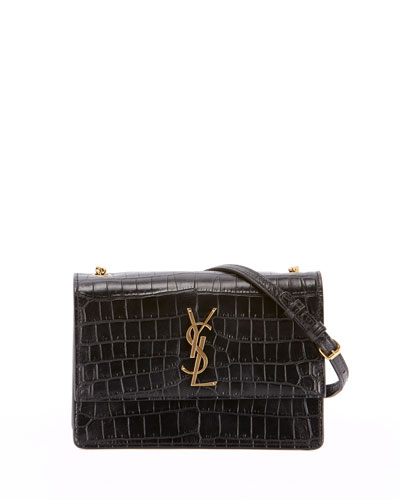 Monogram YSL Sunset Small Chain Croco Shoulder Bag