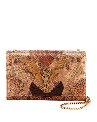 Kate Monogram YSL Medium Patchwork Python Chain Shoulder Bag