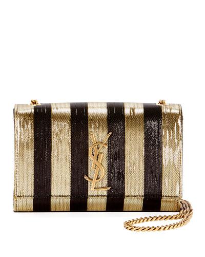 Kate Monogram YSL Small Metallic-Striped Crossbody Bag