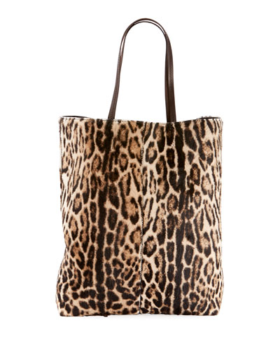 Quick Look Saint Laurent Leopard Print Hair Calf Tote Bag
