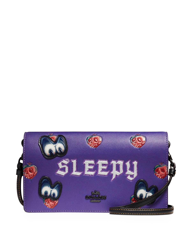 DISNEY X COACH Sleepy Fold-Over Crossbody Clutch Bag