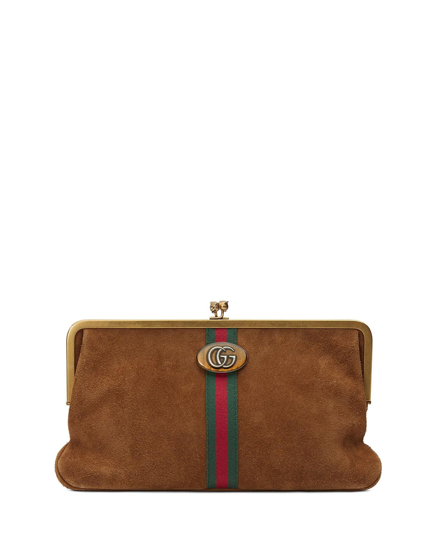Ophidia GG Logo Suede Clutch Bag