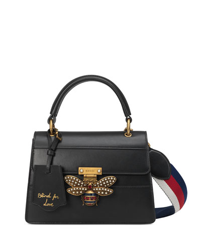 Queen Margaret Small Leather Top-Handle Bag with Bee